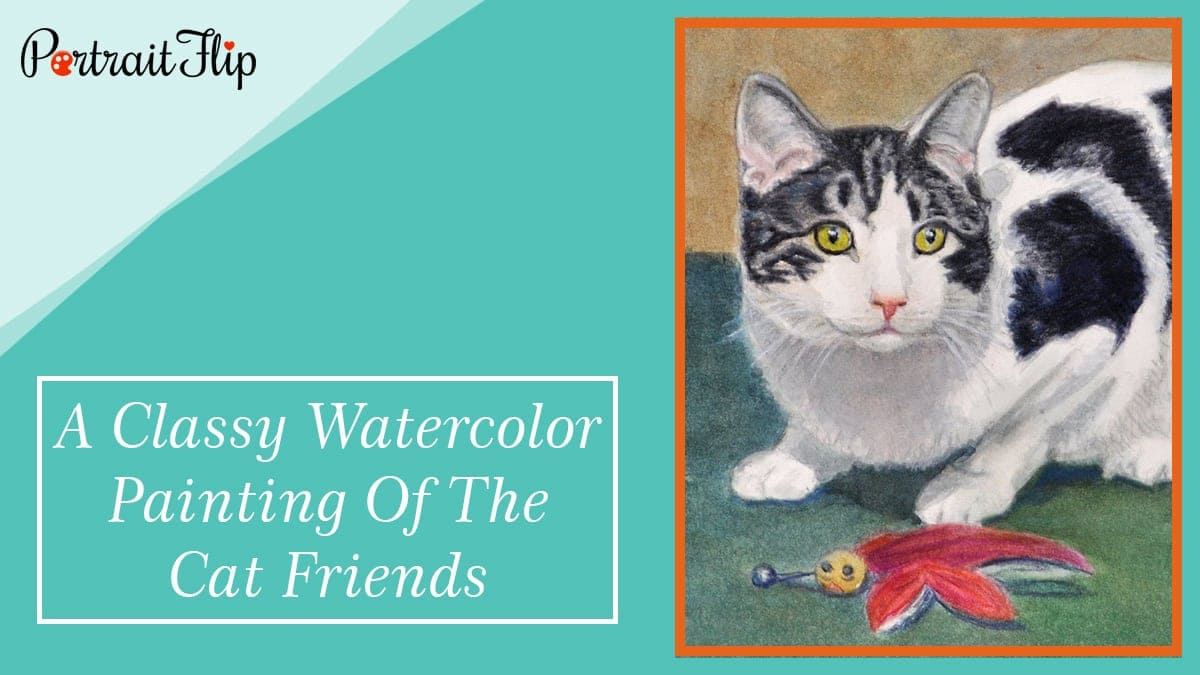A classy watercolor painting of the cat friends