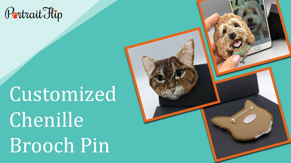 Customized chenille brooch pin
