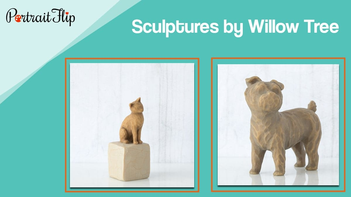 Sculptures by willow tree