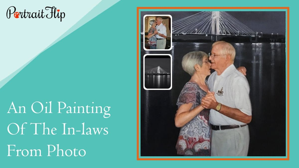 An oil painting of the in laws from photo