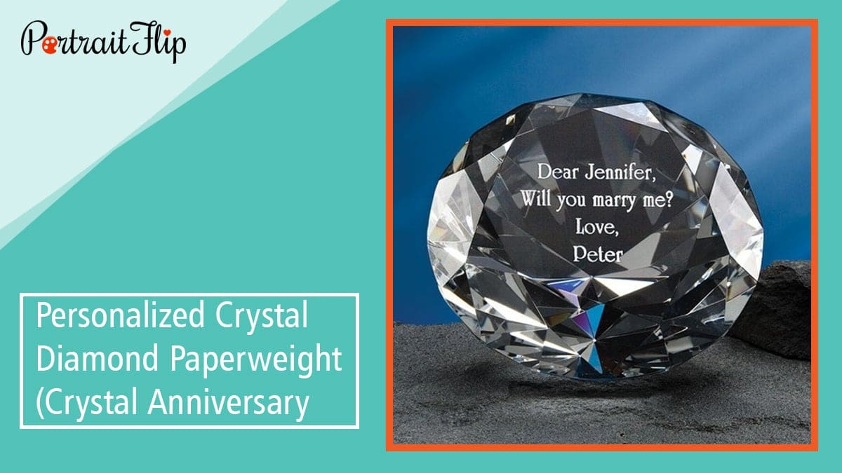 Personalized crystal diamond paperweight (crystal anniversary)