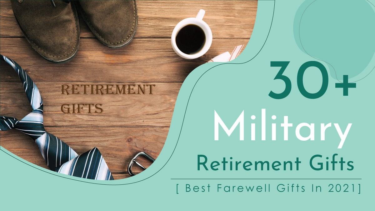 A dozen of military retirement gifts are placed on the wooden surface.