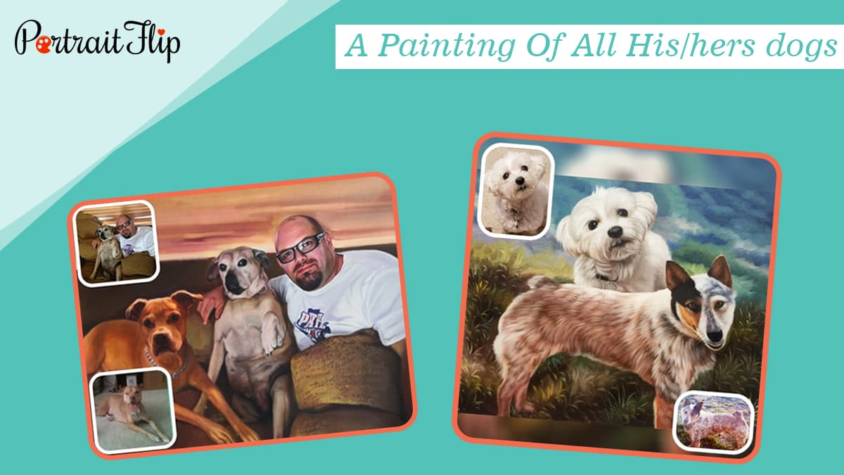 A painting of all his hers dogs
