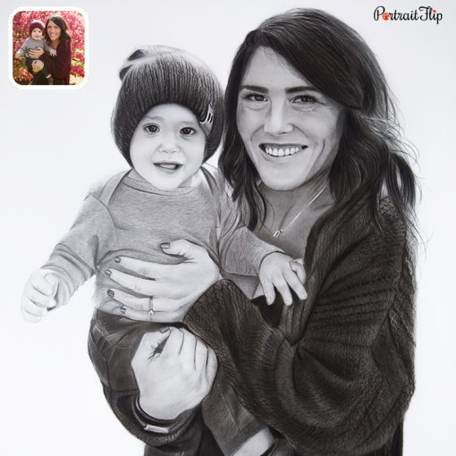 baby with mother charcoal drawing
