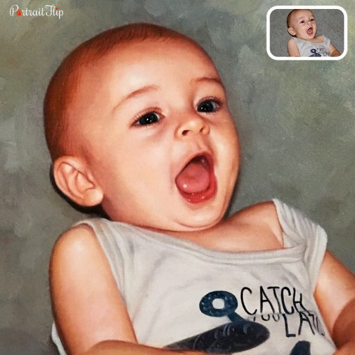 baby oil painting from photo