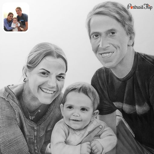 baby with family pencil sketch