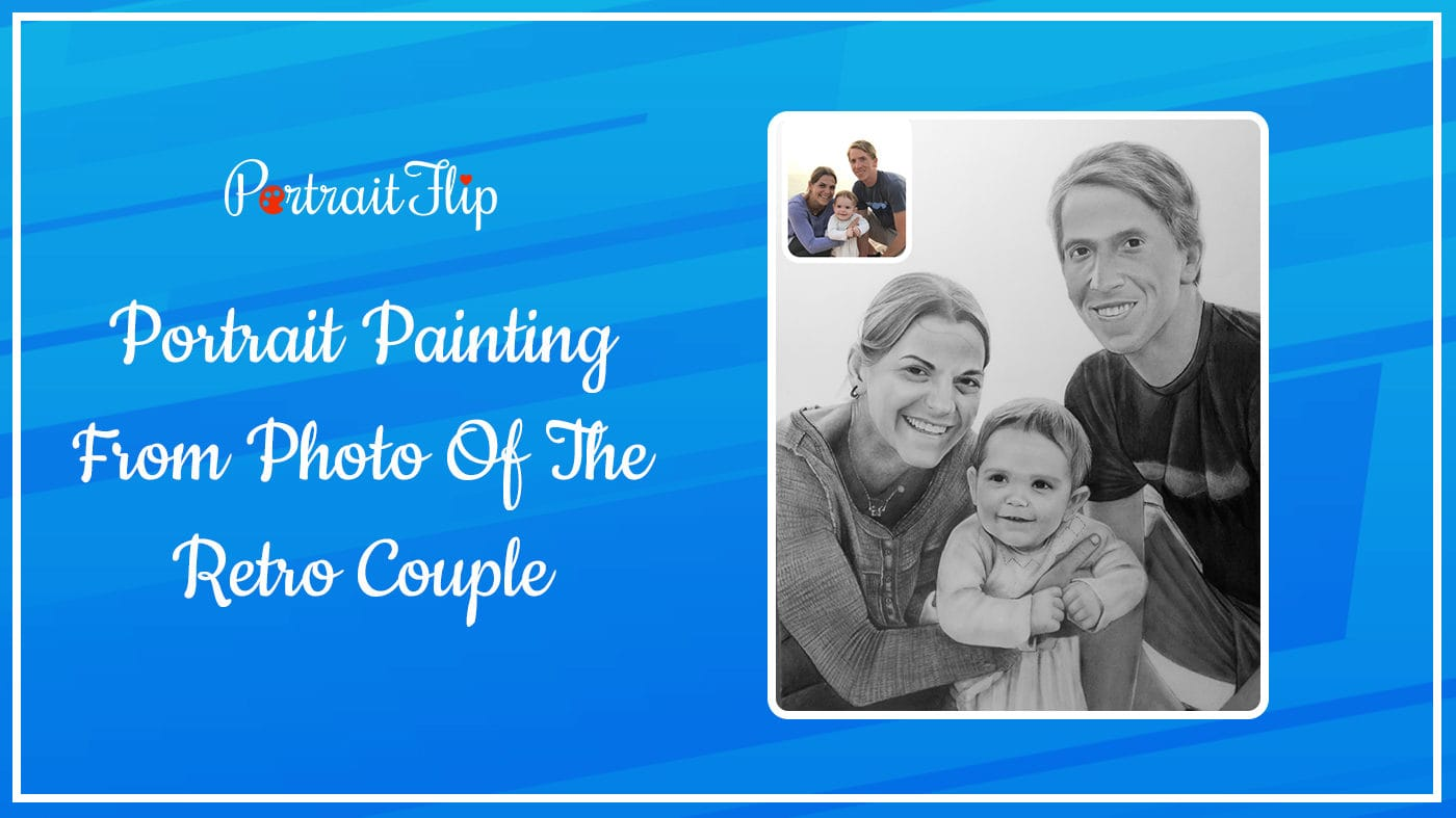 Portrait Painting From Photo Of The Retro Couple
