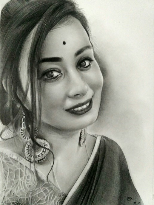 A Charcoal Drawing From Her Photo.