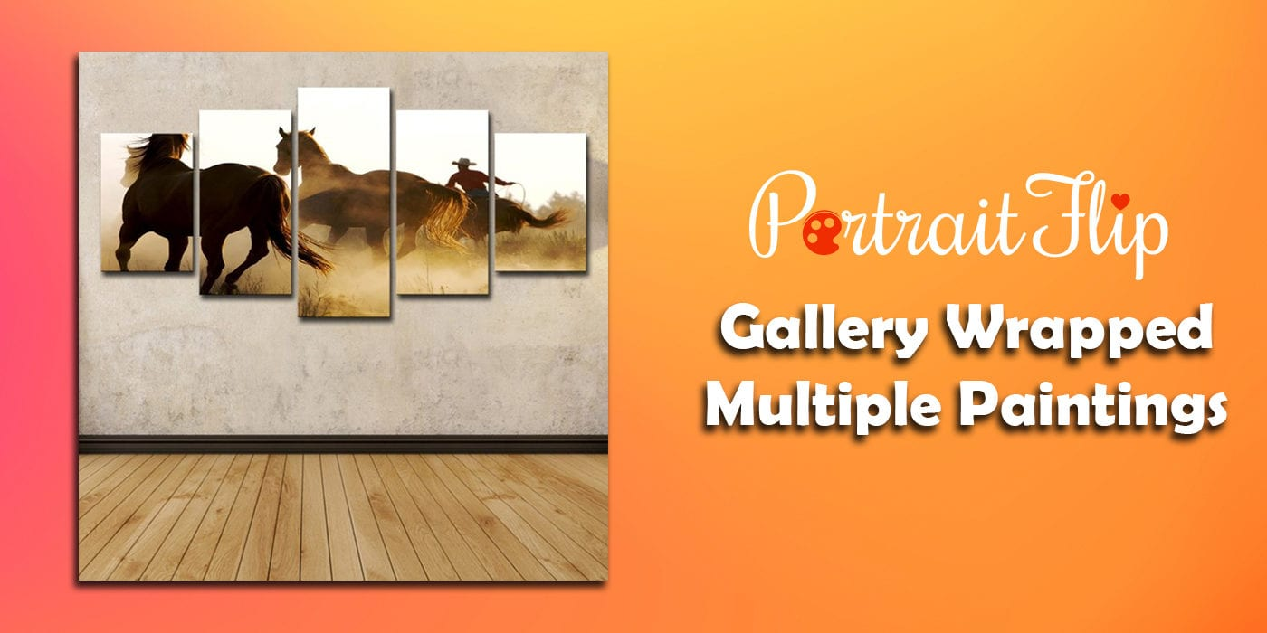 gallery wrapped multiple paintings
