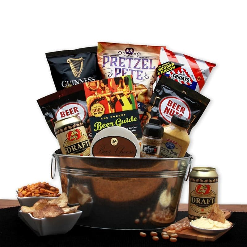 Beer lovers snack food gift pail