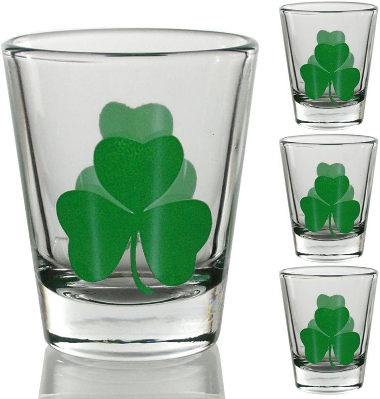 Irish shot glasses with green shamrocks
