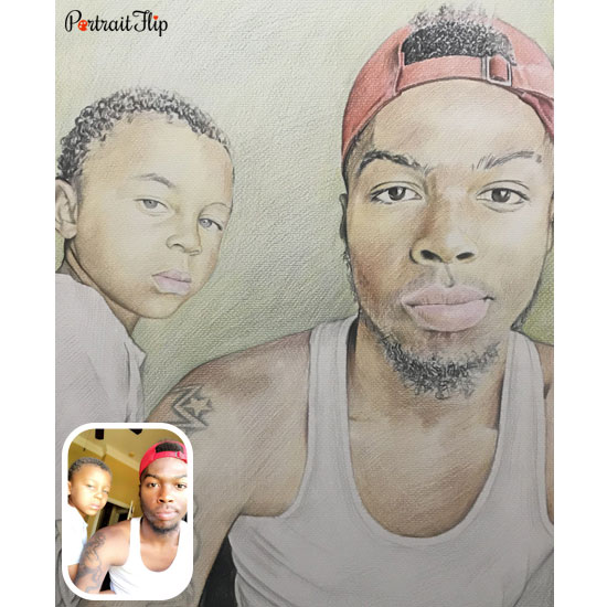 Colored pencil drawing of son