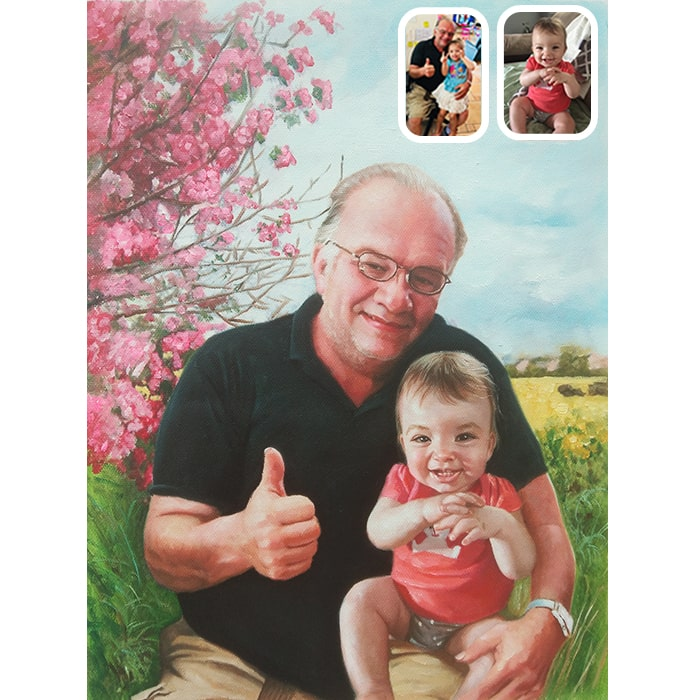 baby and grandfather portrait