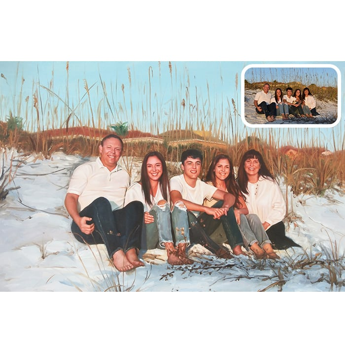 outdoor family oil painting