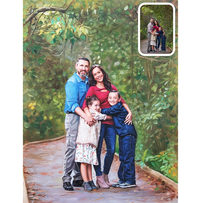 family and forest portrait