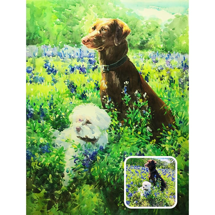 two pet watercolor painting
