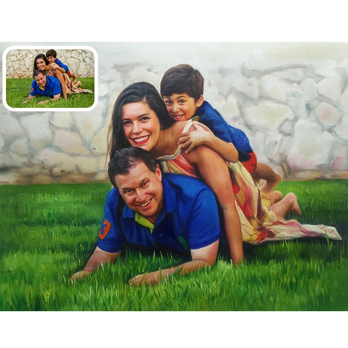 playing family acrylic painting
