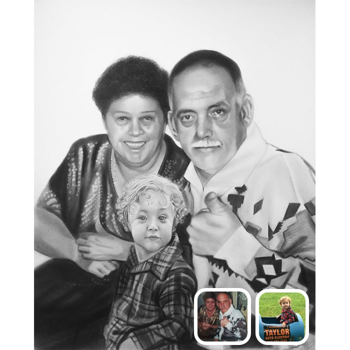 kid with grand parents charcoal drawing
