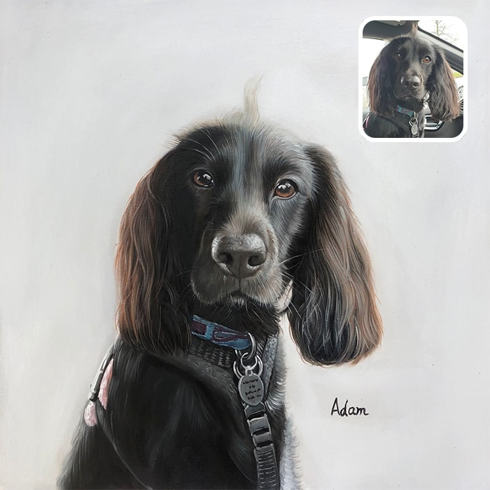 brown dog oil portrait