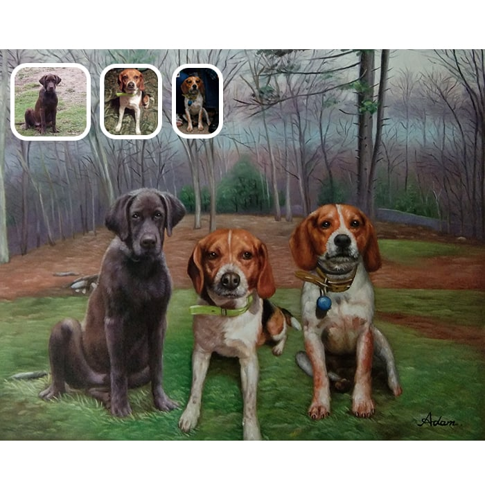 three dogs oil painting