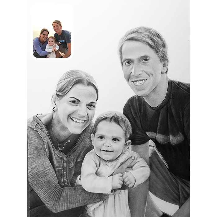 family charcoal drawing