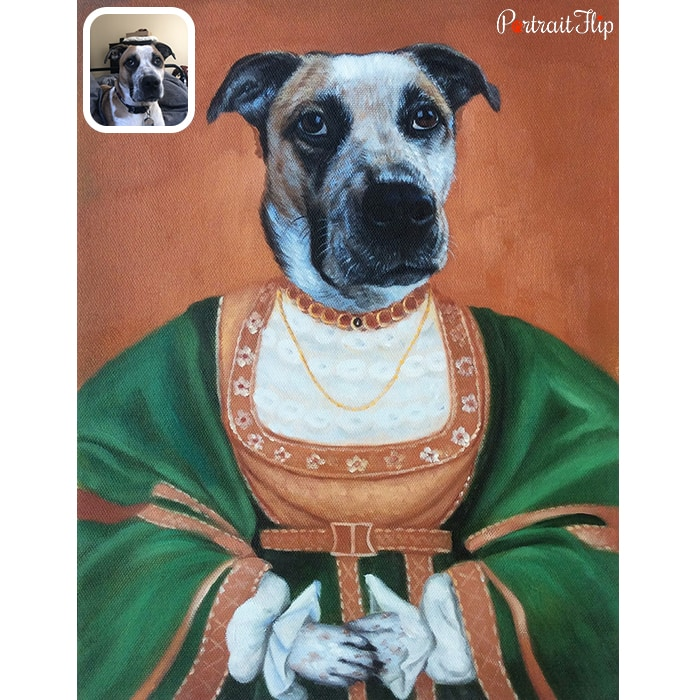 dog in pope dress portrait