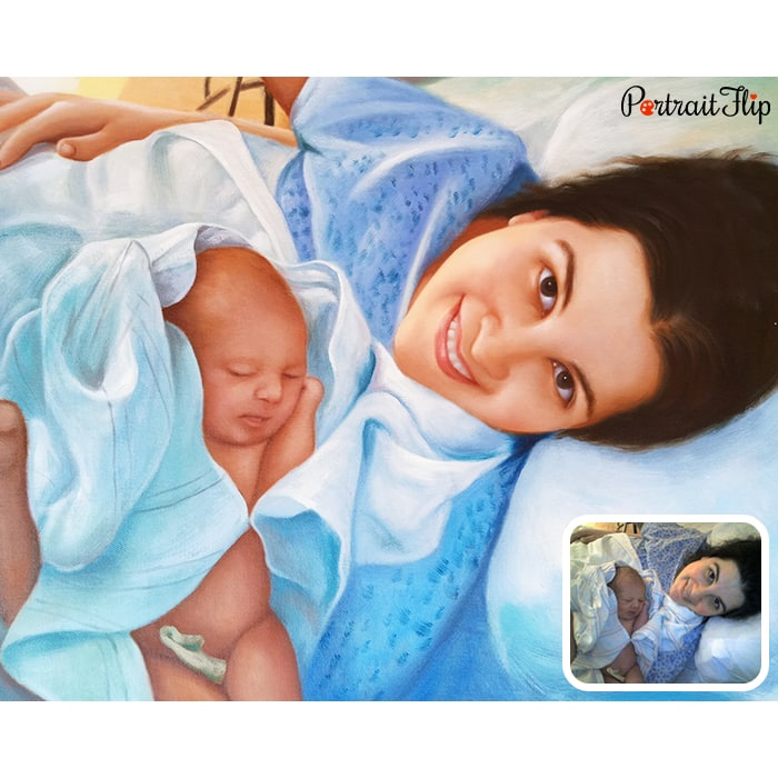 MOTHER WITH NEWLYBORN KID PAINTING