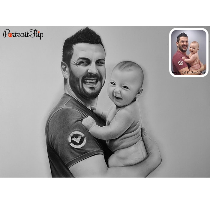 baby with father pencil portrait