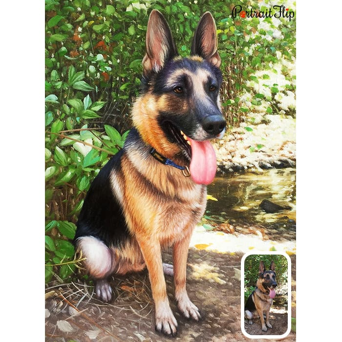german shepherd oil painting