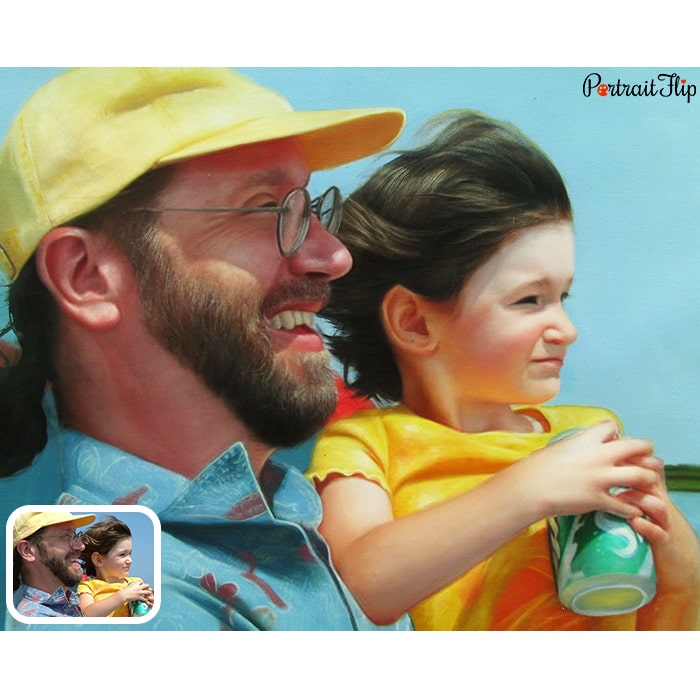daughter with father oil painting