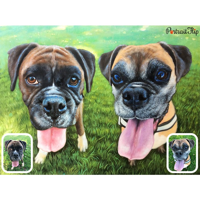 happy dogs merged painting