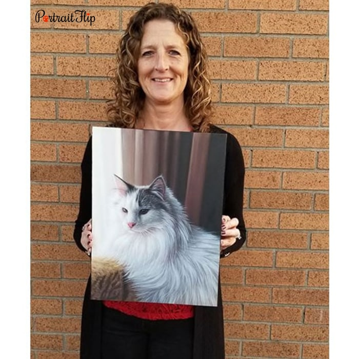 lady with her cat oil portrait