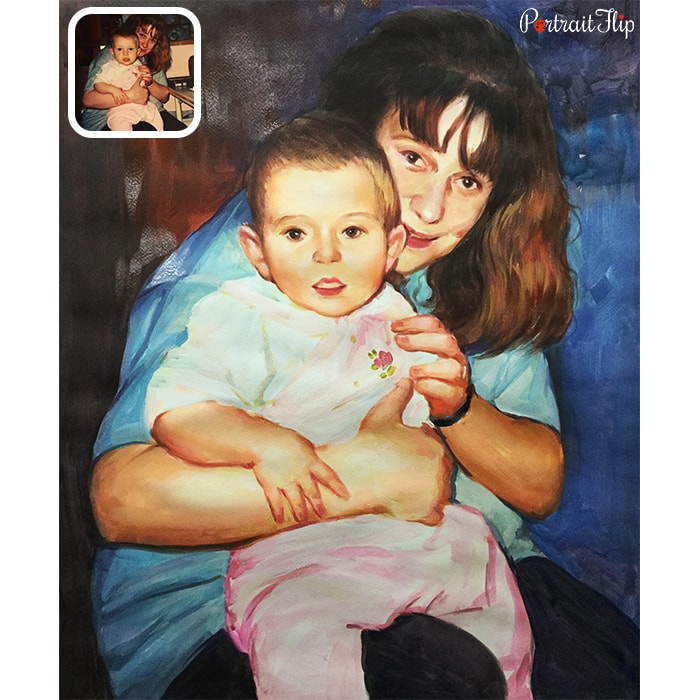 baby with mom watercolor painting