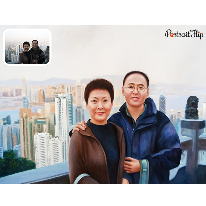 chinese couple acrylic painting