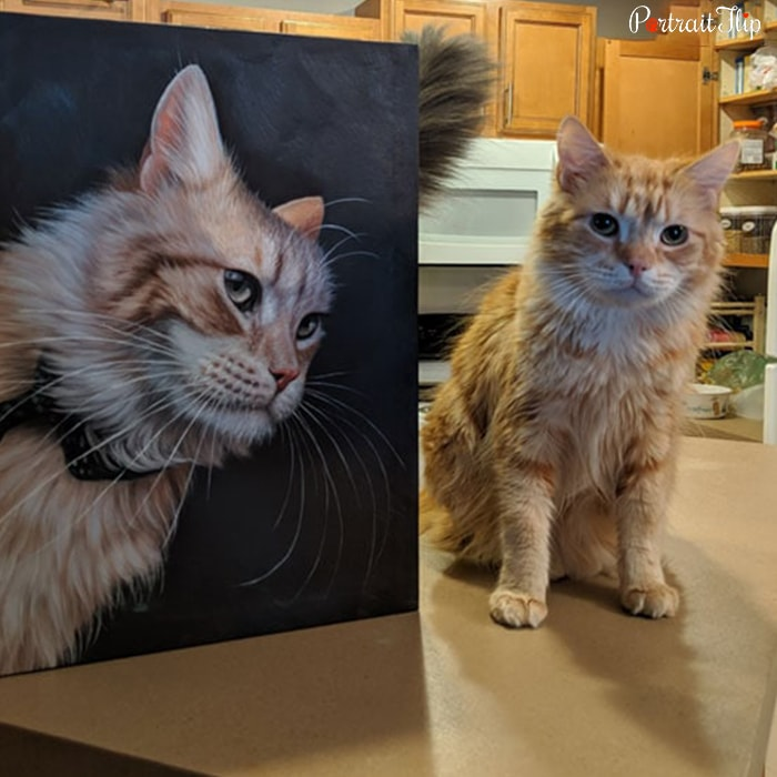 cat with her oil portrait