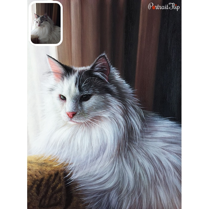 while furry cat portrait painting
