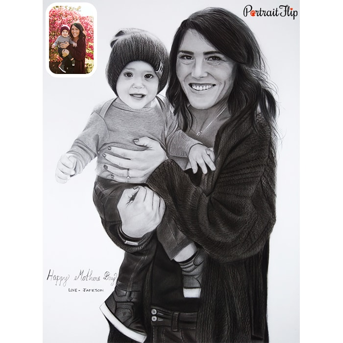 baby with mom pencil portrait