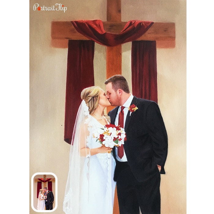 couple in church acrylic painting