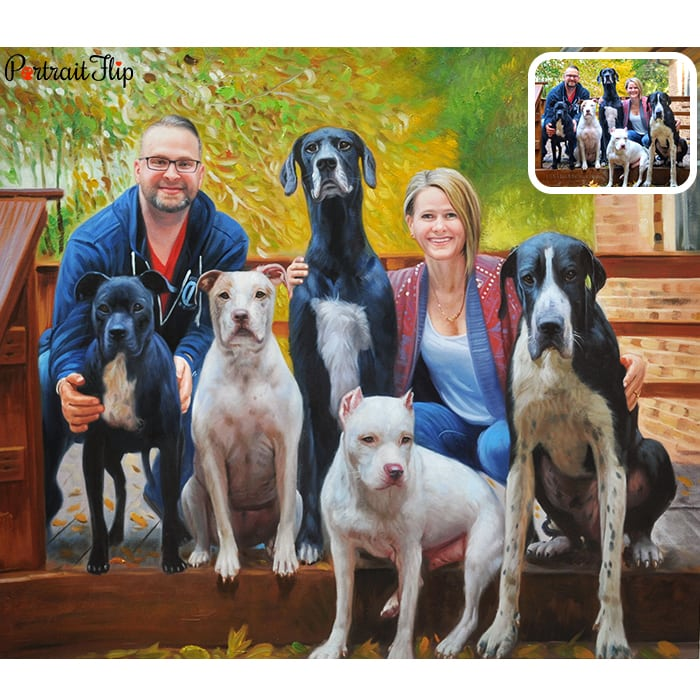 couple and five dogs painting