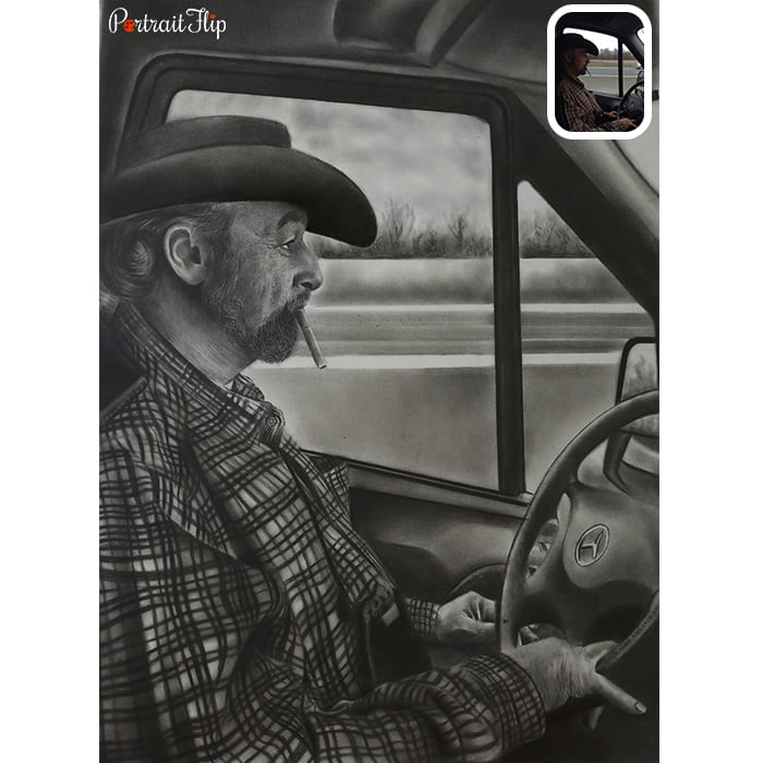 dad charcoal drawing