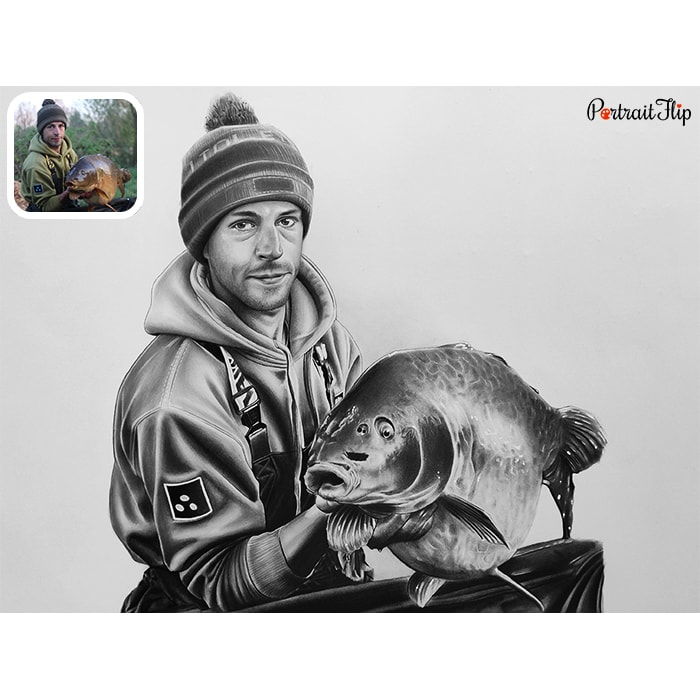 man with fish charcoal portrait
