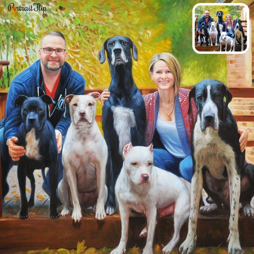 People & Pet Oil Portrait From Photo