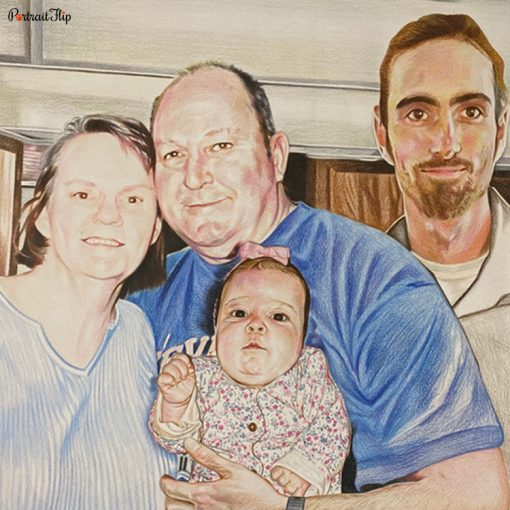 Parents & Children Colored Pencil Portraits
