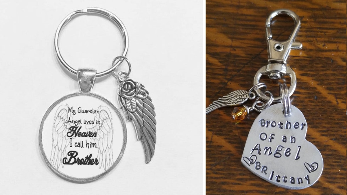 Brother of an angel keychain PortraitFlip