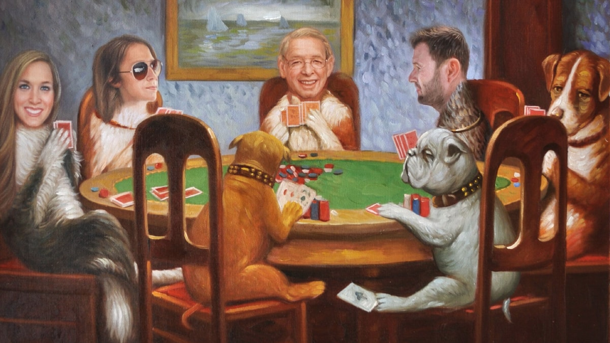 Face change cats and dogs playing cards.