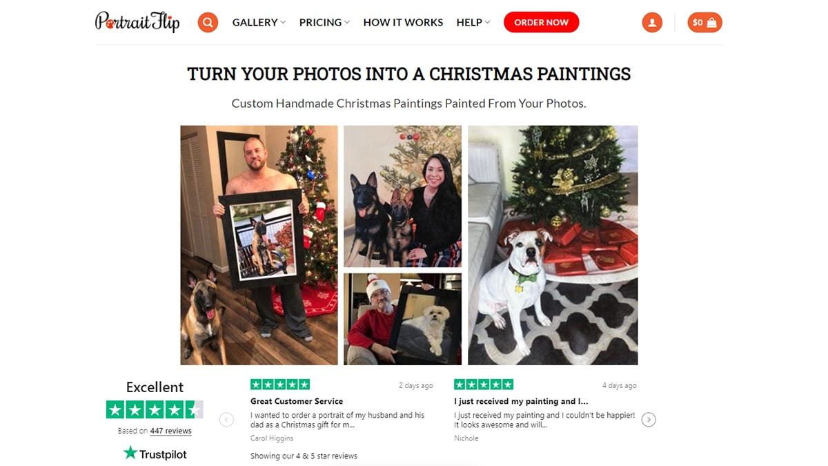 Photos into a christmas painting