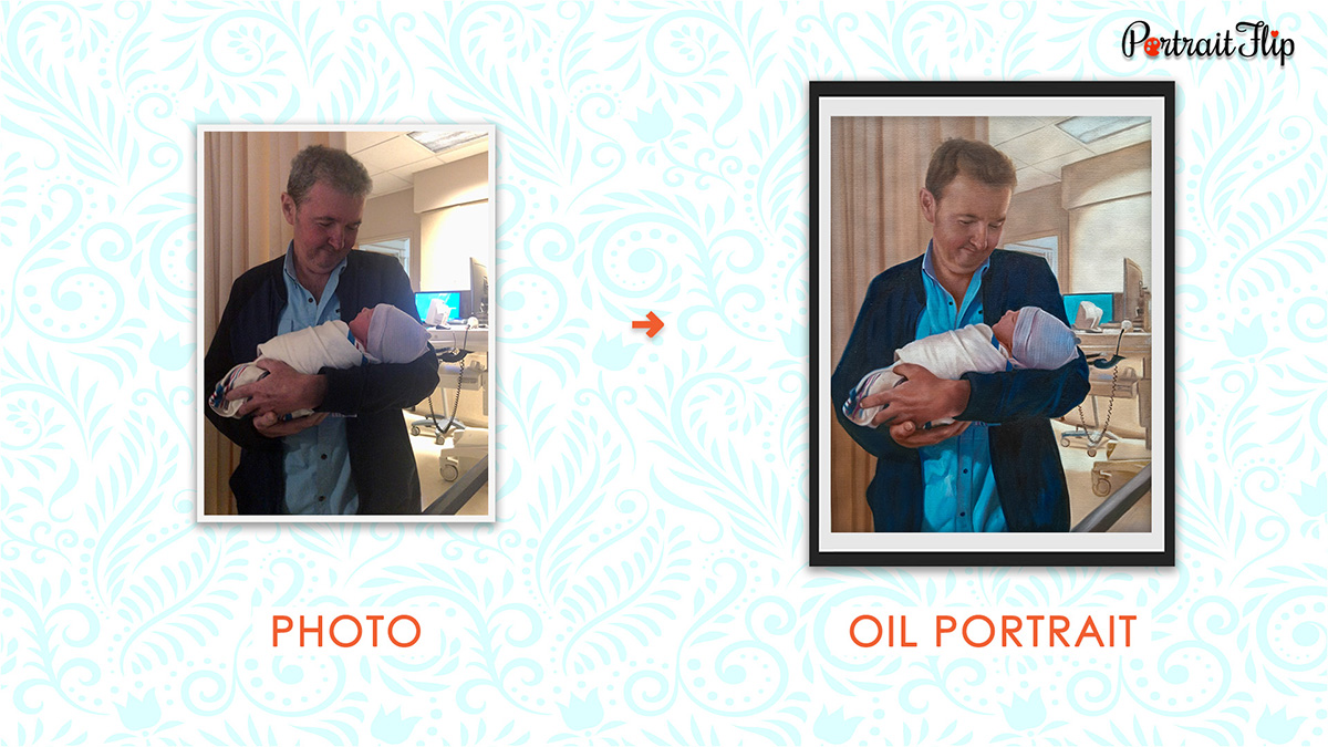 An Oil Portrait Father's Day Gifts PortraitFlip