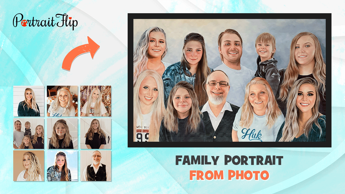 Family Oil Portrait From Photos