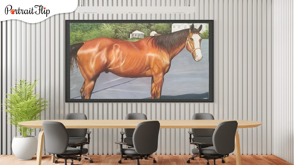 Red horse portrait from photo in a conference room which has grey background, chairs and a tree.