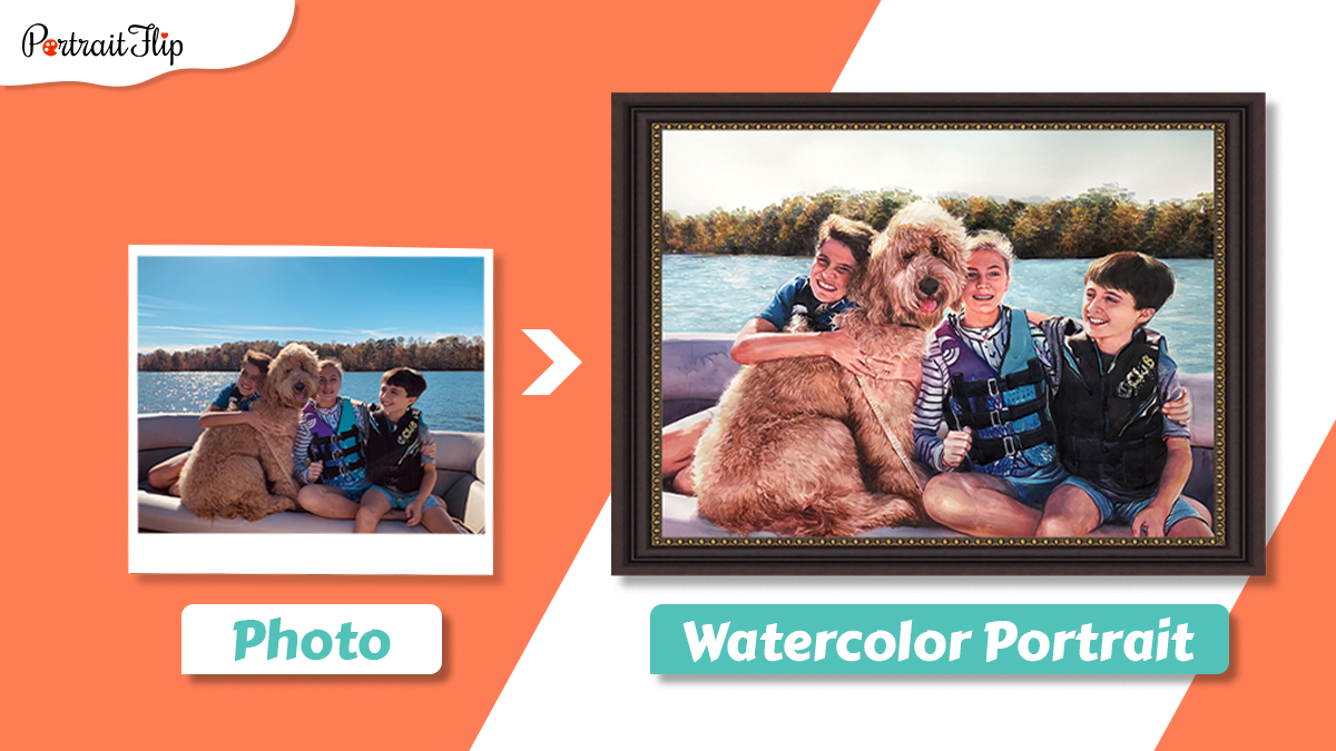 Pet portrait water color of three children and a dog sitting on a ship in the middle of a lake.